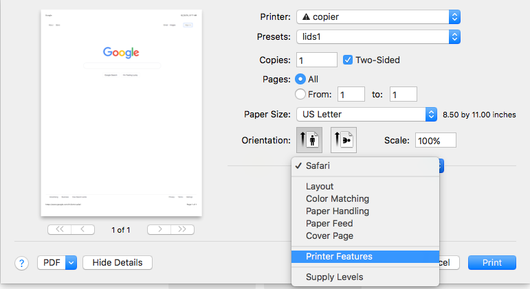 Screenshot of Printer Features selection